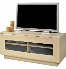 Meuble TV chêne blanchi 2 portes vitrées