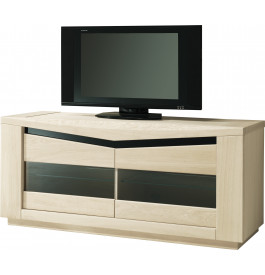 meuble tv ch ne blanchi 2 portes vitr es 2 tag res verre d cor verre noir. Black Bedroom Furniture Sets. Home Design Ideas