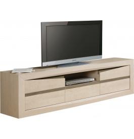Meuble TV chêne blanchi et chêne gris 2 portes 1 tiroir 1 niche