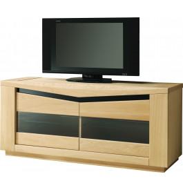 Meuble tv ch ne clair 2 portes vitr es 2 tag res verre - Meuble tv en chene massif clair ...