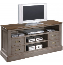 meuble tv ch ne gris 4 tiroirs 3 niches meuble louis xvi style. Black Bedroom Furniture Sets. Home Design Ideas