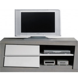 Meuble TV chêne massif 2 tiroirs 2 niches