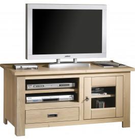 Meuble TV chêne massif naturel blanchi 1 porte 1 tiroir 1 niche