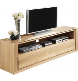 Meuble TV chêne naturel 1 niche 2 tiroirs L140