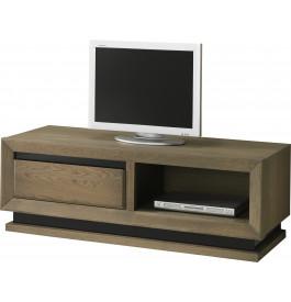 Meuble TV chêne taupe 1 niche 1 tiroir décors verre anthracite