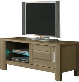 Meuble TV chêne taupe 1 porte coulissante 1 étagère verre