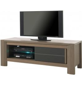 Meuble TV chêne taupe 1 porte coulissante décor verre anthracite 1 étagère verre