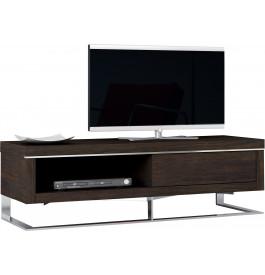 Meuble TV design chêne chocolat pieds inox 1 tiroir 1 niche