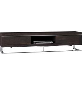 Meuble TV design chêne chocolat pieds inox 2 tiroirs