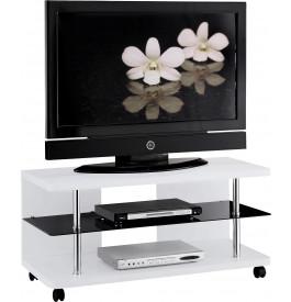 meuble tv design laque blanche sur roulettes - Meuble Tv A Roulettes
