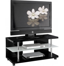 meuble tv design laque noir sur roulettes. Black Bedroom Furniture Sets. Home Design Ideas