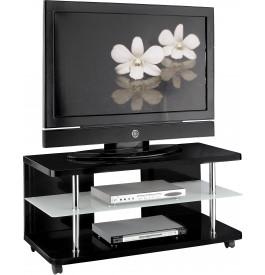 Meuble tv design laque noir sur roulettes for Meuble tv sur roulettes