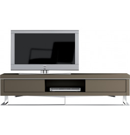 meuble tv design laque taupe pieds inox 2 tiroirs. Black Bedroom Furniture Sets. Home Design Ideas