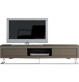 Meuble TV design laque taupe pieds inox 2 tiroirs