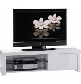 Meuble TV laque blanc 1 porte 1 étagère en verre