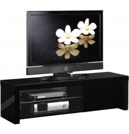 Meuble TV laque noir 1 porte 1 étagère en verre