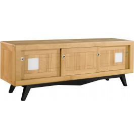 meuble tv scandinave ch ne massif clair 3 portes coulissantes d cor verre blanc pieds noir. Black Bedroom Furniture Sets. Home Design Ideas