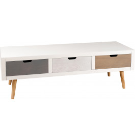 Meuble TV Scandinave Pin Blanc 3 Tiroirs Assortis