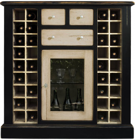 meuble bar cave vins ch ne noir cr me 36 cases 1 porte 3 tiroirs. Black Bedroom Furniture Sets. Home Design Ideas