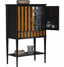 Meuble bar merisier massif patin noir 2 portes pieds fuseaux for Meuble bar merisier