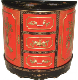 Meuble chinois laque rouge demi lune 3 tiroirs for Meuble style chinois