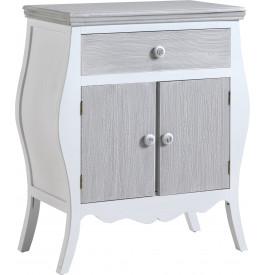 Meuble d'entrée galbé pin massif blanc 2 portes 1 tiroir gris blanchi
