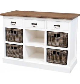 meuble de rangement blanc 4 paniers rotin 3 tiroirs 2 niches. Black Bedroom Furniture Sets. Home Design Ideas