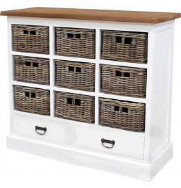 meuble de rangement blanc 9 paniers rotin 2 tiroirs. Black Bedroom Furniture Sets. Home Design Ideas