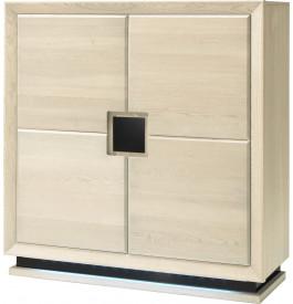 Meuble de rangement chêne blanchi 4 portes décors et socle verre anthracite