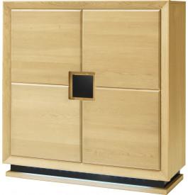 Meuble de rangement chêne clair 4 portes décors et socle verre anthracite