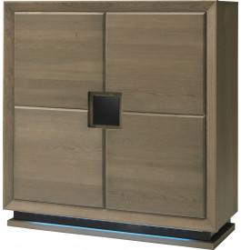 Meuble de rangement chêne taupe 4 portes décors et socle verre anthracite