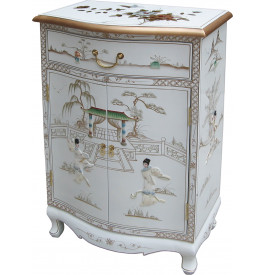 meuble de rangement chinois laque blanche 2 portes 1 tiroir. Black Bedroom Furniture Sets. Home Design Ideas
