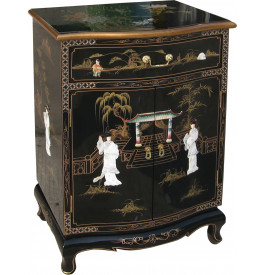 meuble de rangement chinois laque noire 2 portes 1 tiroir. Black Bedroom Furniture Sets. Home Design Ideas