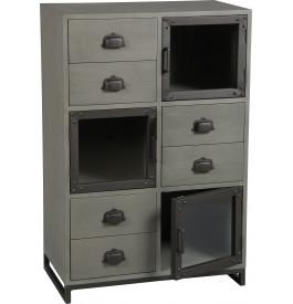 Meuble de rangement industriel mindi gris acier 3 portes 6 tiroirs