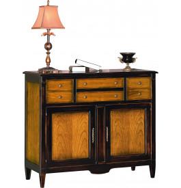 meuble de rangement merisier massif patin noir 2 portes 4 tiroirs. Black Bedroom Furniture Sets. Home Design Ideas