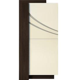 Meuble design chêne chocolat laque ivoire 2 portes avec module