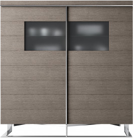 meuble design ch ne gris 4 portes verre fum pieds inox. Black Bedroom Furniture Sets. Home Design Ideas