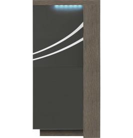Meuble design chêne gris laque grise 2 portes avec module