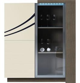 Meuble design chêne gris laque ivoire 3 portes avec module