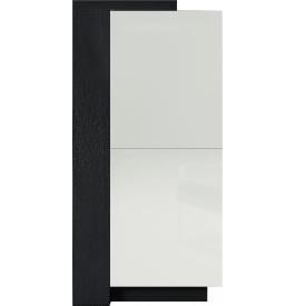 Meuble design chêne noir laque blanc 2 portes avec module