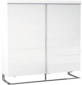 Meuble design laque blanc 4 portes pieds inox