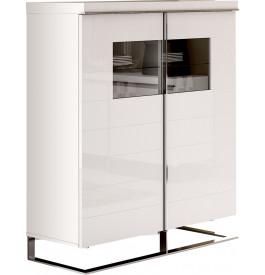 Meuble design laque blanc 4 portes verre pieds inox