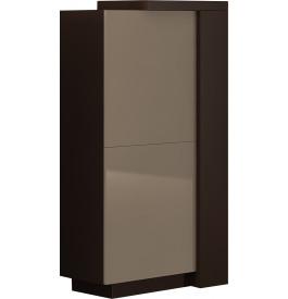 Meuble design laque chocolat et taupe 2 portes avec module