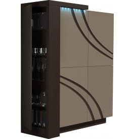 Meuble design laque chocolat et taupe 4 portes avec module
