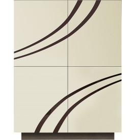 Meuble design laque ivoire chêne gris 4 portes