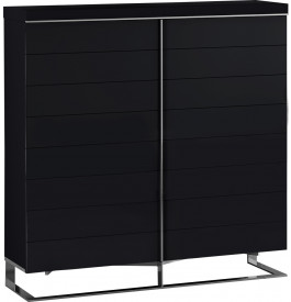 Meuble design laque noir 4 portes pieds inox - Petit meuble noir laque ...