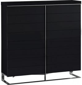 Meuble design laque noir 4 portes pieds inox