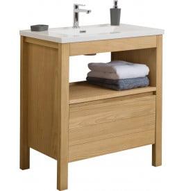 Meuble vasque chêne naturel 1 tiroir 1 niche