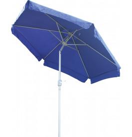 Parasol aluminium et toile bleu avec volants Ø250