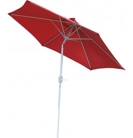 Parasol aluminium et toile rouge Ø250